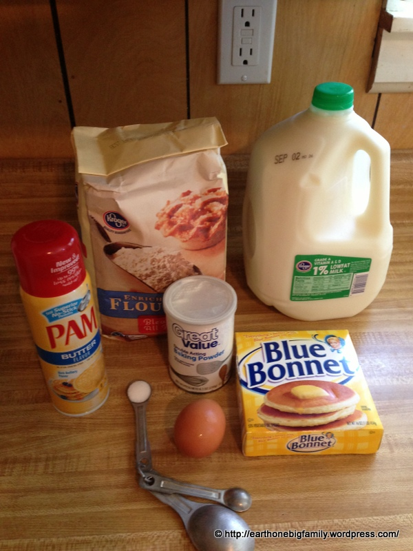 For 8 pancakes- DRY INGREDIENTS:1½ all purpose flour (maida), 3 ½ tsp baking powder, ½  tsp salt, 1½-2 tbsp sugar (depending on how sweet you want your pancakes) WET INGREDIENTS: 1¼ cups milk, 1 egg, 3 tbsp unsalted butter.  Cooking spray or butter to cook the pancakes in.